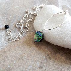 colar com pingente de abalone e fio de prata com corrente feita à mão em fio de prata