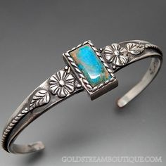 CAROLYN POLLACK RELIOS TURQUOISE STERLING SILVER FLORAL CUFF BRACELET