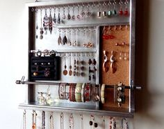 Jewelry storage. earrings display Jewelry organizer. necklace holder. Metal SILVER display shelf. wooden wall mounted jewelry holder.