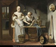 A Lady In A Kitchen Interior With A Maid Scaling Fish  by (after) Justus De Gelder