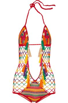 Anna Kosturova Monokini crocheted cotton swimsuit
