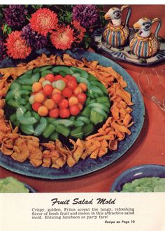 c. 1950s color vintage photo: Fruit Salad Mold with Fritos.