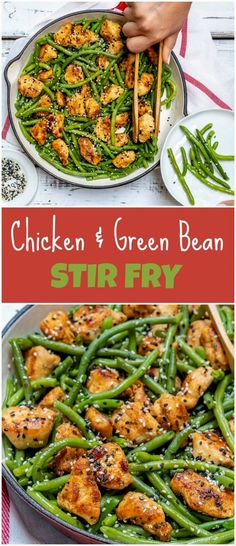 Fast & Simple Chicken and Green Bean Stir Fry for Clean Eating - Clean Food Crus. Fast & Simple Chicken and Green Bean Stir Fry for Clean Eating - Clean Food Stir Fry Recipes, Cooking Recipes, Healthy Recipes, Clean Food Recipes, Clean Eating Dinner Recipes, Health Food Recipes, Clean Dinners, Cooking Ribs, Cooking Games