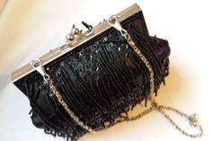 Vintage handbag, vintage evening bag, black sequin, beaded bag, silver chain handled bag, evening clutch bag, races handbag, wedding handbag - pinned by pin4etsy.com