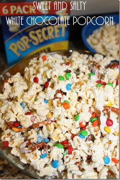 8/9/14 Sweet and Salty White Chocolate Popcorn looks pretty yummy. If I make it for the party, I'll take out the brown M&Ms. Made it! I stored it in a rubbermade container about 3 days ahead and it was still good.