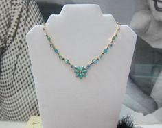 Turquoise Flower Necklace by LeTreasurelat on Etsy, $19.99