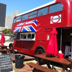 Mark Turner:  Authentic fish and chips served on a London double-decker bus under a Union Jack shade! What more could you want?