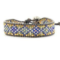 Chan Luu - Blue Mix Beaded Single Wrap Bracelet on Natural Grey Leather, $140.00 (http://www.chanluu.com/bracelets/blue-mix-beaded-single-wrap-bracelet-on-natural-grey-leather/)