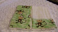 Burp Cloths  Monkey on Shades of Green Flannel by kalliescotton, $16.00