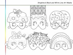 Coloring Pages Shopkins Party Printable Black and White Line Art Masks, kids costume, Shopkins mask, Shopkins heroes, props by HolidayPartyStar, $2.95 USD