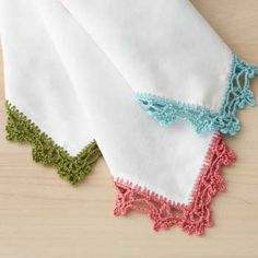Ravelry: Lace Napkin Edging pattern by Bernat Design Studio Crochet Lace Edging, Crochet Borders, Crochet Stitches Patterns, Thread Crochet, Crochet Trim, Knit Or Crochet, Learn To Crochet, Crochet Gifts, Crochet Edgings