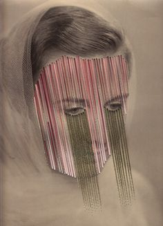 "Maurizio Anzeri, courtesy of the Photographers' Gallery, London  In works like ""Nadia,"" Maurizio Anzeri transforms flea-market photographic portraits with colored thread."