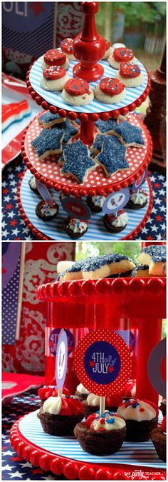 Home of the Brave of July Party by The Party Teacher - tiered dessert stand 4th Of July Games, Fourth Of July Food, 4th Of July Fireworks, 4th Of July Celebration, 4th Of July Party, July 4th, Tiered Dessert Stand, Dessert Table, 4th Of July Photography