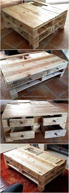 An ideal layout of a repurposed pallets wooden coffee table is set here for the refurbishing of your lounge areas. This coffee table is smartly designed for you so that you can easily serve coffee and other food items in an appealing manner with it. It is also offering the drawers creation in it.