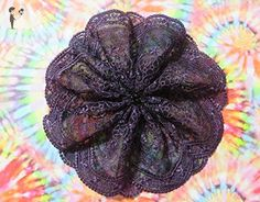 Handmade purple on black embroidered tulle lace doily head cover with black beads (with attached comb) - Bridal fashion accessories (*Amazon Partner-Link)