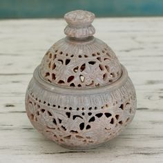 """Ivy and Lace :Hand Carved Soapstone Decorative Jar   Finely carved in jali or openwork, ivy swirls in lacy patterns  Product Code : TL-105  Size: 5.5"""" H x 4.9"""" Diam.  Weight: 1.0 lbs"""