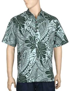 Hawaiian shirts for men with tribal design in green and navy Tribal Shirt, Mens Hawaiian Shirts, Aloha Shirt, Vintage Hawaiian, Men Casual, Shirt Dress, Mens Tops, Cotton, Tropical