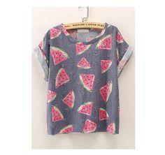 Camiseta lavanda con estampado de sandías