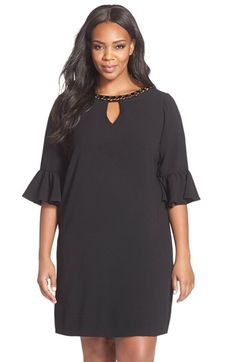 London Times Embellished Neck Flounce Sleeve Crepe Shift Dress (Plus Size) available at #Nordstrom