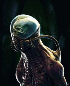 Concept Alien biomecha by Pascal Sguera Character Design Animation, Character Art, Concept Alien, Armor Concept, Art Cyberpunk, Cyberpunk Aesthetic, Science Fiction, Les Aliens, Giger Alien