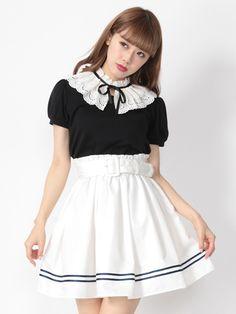 Ank Rouge 裾ライン入り太幅ベルト付きスカート(オフホワイト)