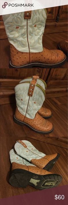 ARIAT fat baby boots ostrich star cowboy cowgirl EUC Ariat boots they're just a tad too small on me true to size very soft and comfy. Tan ostrich type print with baby blue uppers. Great star details love them! so pretty Ariat Shoes Ankle Boots & Booties