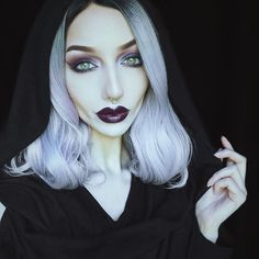 """Wearing my new hooded scarf from @killstarco 😍😍 My love for hoods is huge. Can't wait to take full photos of my new outfits 😁 Makeup details below: BROWS: @anastasiabeverlyhills dipbrow in ebony  PRIMER: @katvondbeauty colour correcting eyeshadow primer in fair (eyes) and @benefitcosmetics """"that gal"""" (face) EYES: @katvondbeauty #metalmatte palette (velvet, ribbon, jet, twinkle) and Danzig metal crush. Liner is @limecrimemakeup jinx velvetine.  HIGHLIGHT: @ritueldefille rare light…"""