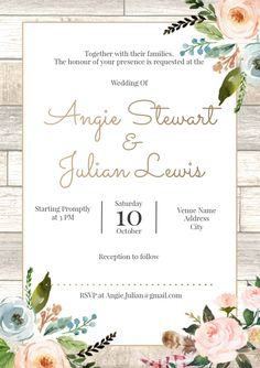 Customize this design with your video, photos and text. Easy to use online tools with thousands of stock photos, clipart and effects. Free downloads, great for printing and sharing online. A4. Tags: flowers, rustic, spring, wedding invitation, wood, Spring, Wedding , Wedding