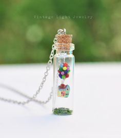 Miniature Glass Bottle Necklace with Up by VintageLightJewelry Disney Inspired Jewelry, Floating House, Bottle Necklace, The Balloon, Vintage Lighting, Bird Feeders, Glass Bottles, Silver Color, Antique Silver