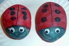 Painted ladybug rock craft