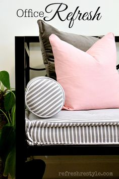 Pink and Gray Office on a budget #homedecor #daybed #office