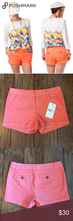 """NWT Harper Tab Shorts in Coral Our favorite Harper Tab Shorts are back in new colors & prints! These stretchy denim shorts feature a bright coral hue perfect for spring. These shorts go with an array of tops, sandals & accessories!   -10"""" length -30"""" waist -2.5"""" inseam  -78% Cotton, 20% Polyester, 2% Spandex  -Machine Wash  -Reasonable offers accepted. 20% off bundles! Harper Shorts"""