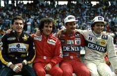 (L to R) Ayrton Senna (BRA) Lotus 98T, 4th place, Alain Prost (FRA) McLaren MP4/2C, 2nd place, Winner Nigel Mansell (GBR) Williams FW11 and Nelson Piquet (BRA) Williams FW11, 3rd place.  Portugese Grand Prix, Estoril, 21 September 1986 © Sutton Motorsport Images