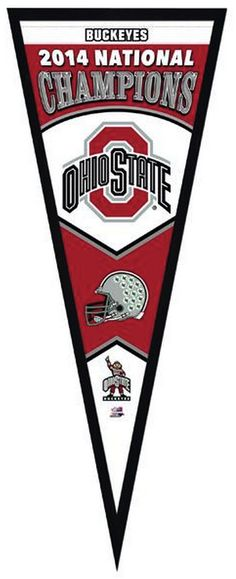 """Ohio State Buckeyes 2014 National Champions - 13"""" x 33"""" Framed Pennant"""