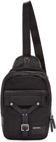 ac8e04f342d59 Diesel - Black Mono Crossbody Backpack Grosgrain