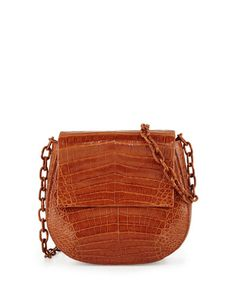 Nancy Gonzalez Crocodile Chain-Strap Saddle Bag, Cognac