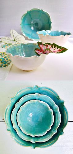 Lee Wolfe Pottery — new Nesting Bowl Set in Turquoise Waters