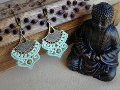 Macramé Elven Earrings. Spiritual Jewelry. Bohemian Gypsy Tribal Earrings. Bellydance Earrings.