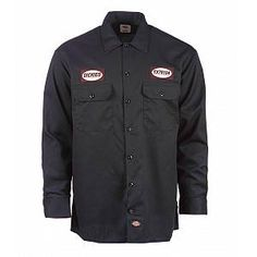 DICKIES MEN/'S 2XL LONG SLEEVE BUTTON UP CHARCOAL WORK SHIRT EMBROIDERED