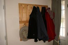 Cool coat rack, knobs and floor decking!