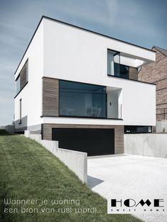 Blockoffice-Architecten - Strakke architectuur Arch House, House Front, Modern Architecture House, Interior Architecture, Home Garden Design, House Design, Luxury Homes Exterior, Bauhaus, Small Modern Home