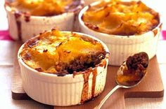 Looking for new ways with mince? Try these individual pies with a mashed pumpkin and potato lid.