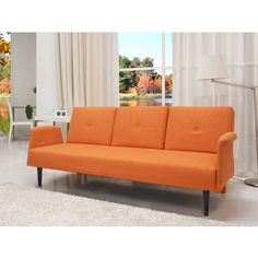 Gold Sparrow Cambridge Orange Convertible Sofa Bed ($550) ❤ liked on Polyvore featuring home, furniture, sofas, orange, european furniture, orange sofa, orange couch, colored furniture and orange furniture