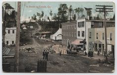 A postcard showing a black and white image of Prospect Street in Cobalt, ca. Prospect Street, Canadian History, O Canada, White Image, Hand Coloring, View Image, Cobalt, Ontario, Places To Visit