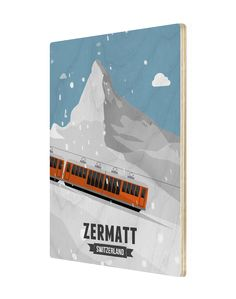 A product from the 'Tour De Suisse' illustrations and picture effects by designer Gareth Knott of LEKKA. They present a fresh new take on the icons of Switzerland. Chf, Zermatt, Switzerland, Tours, Train, Wood, Prints, Pictures, Design