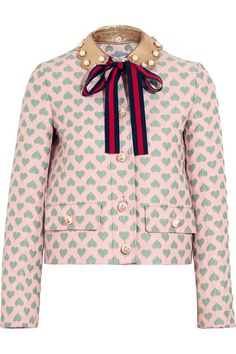 Gucci for NET-A-PORTER - Leather-trimmed Jacquard Jacket - Pastel pink - IT46