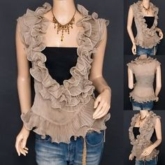 Trendy Khaki Chiffon Tiered Ruffles Crinkles Wrap Sleeveless Shirt Top