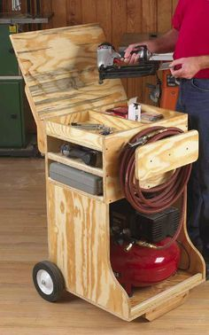 """Link broken, search the site for """"Compressor Cart"""" to see original article. The photo cart from original plan by Wood Magazine called """"Compressed Air Work Station Woodworking Plan"""" sells for $3.95 @ http://www.woodstore.net/coairwost.html"""