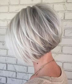 100 Mind-Blowing Short Hairstyles for Fine Hair Angled Silver Balayage Bob With Swoopy Layers Layered Haircuts For Women, Short Bob Haircuts, Cool Haircuts, Hairstyles Haircuts, Natural Hairstyles, Stacked Bob Haircuts, Stylish Hairstyles, Haircut Short, Layered Bob Hairstyles