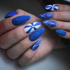 #nails #semilac #gelnails#nailspolish #semilaclove #goodjob #nailsdesign#wownails #blue #bluenails #whitenails #portomarine #glitter #blueandwhitenails #polnishnails #paznokcieżelowe #artnails #nails2k18 #semilacnails #matnails #followme